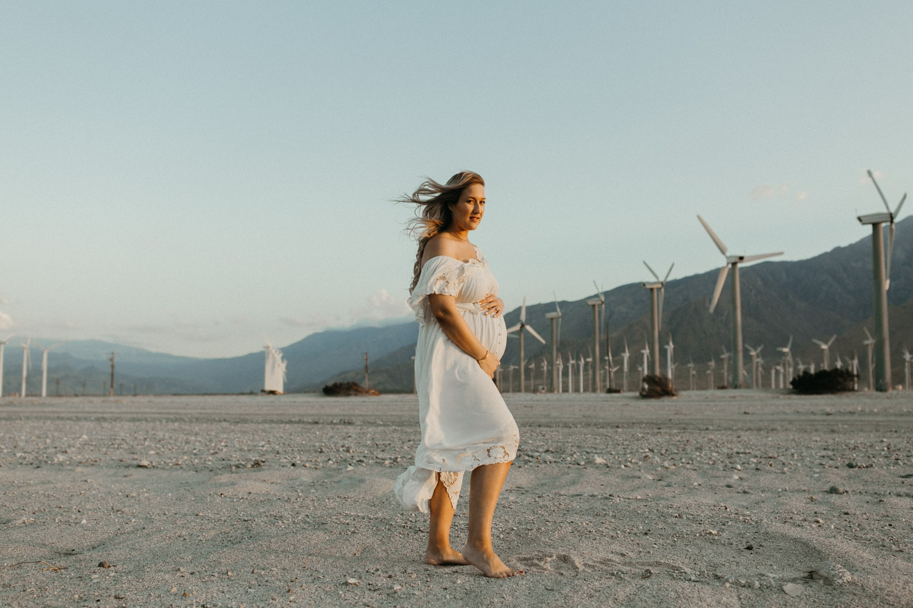 maternity session at the windmills in palm springs