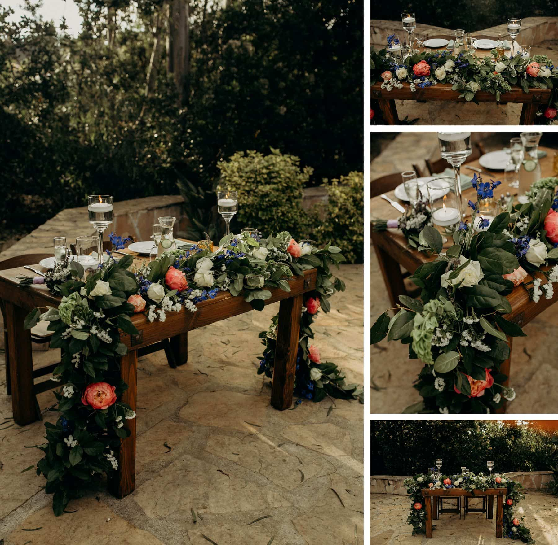 sweetheart table details at leo carrillo ranch