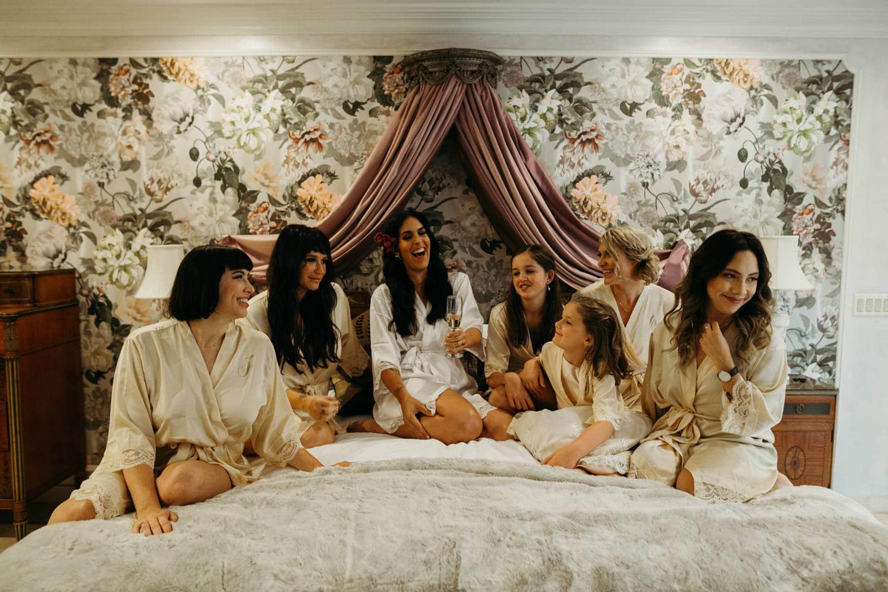 bride with bridesmaids at houdini estate