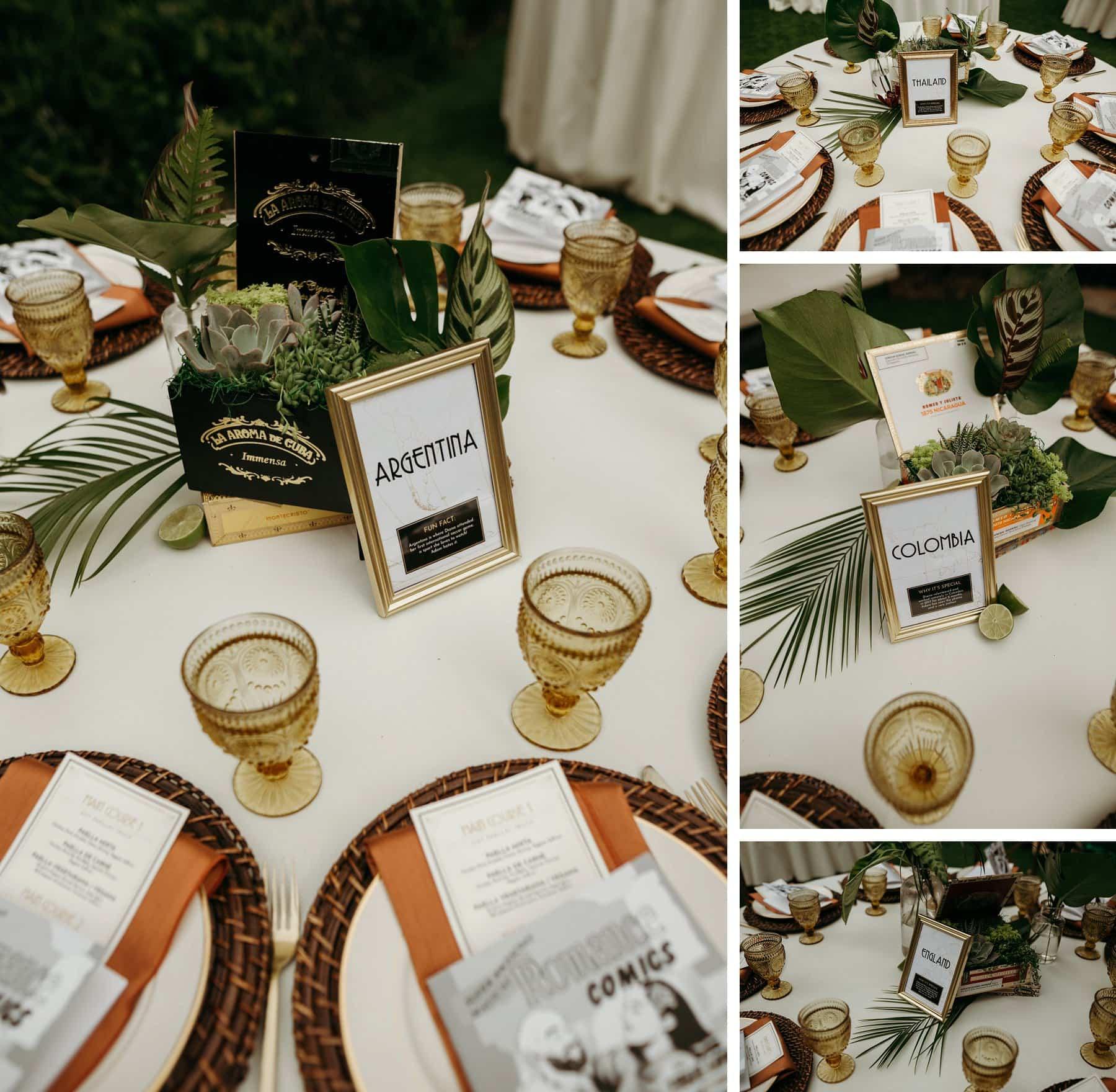 cuban inspired tabletop settings