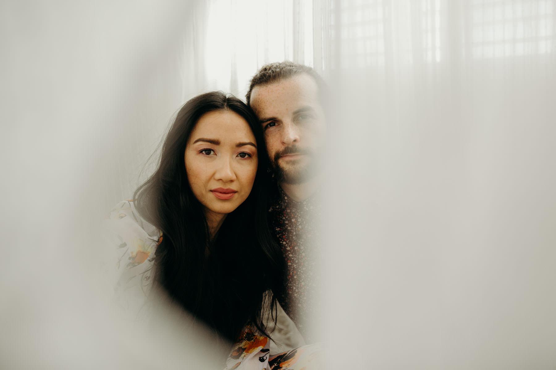 white sheets at home photo shoot inspiration