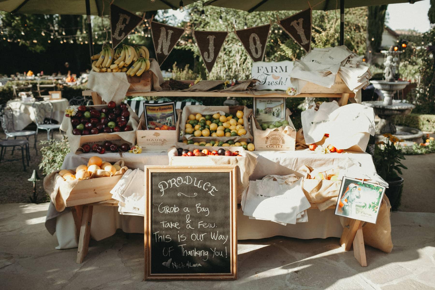 fruit stand backyard wedding idea
