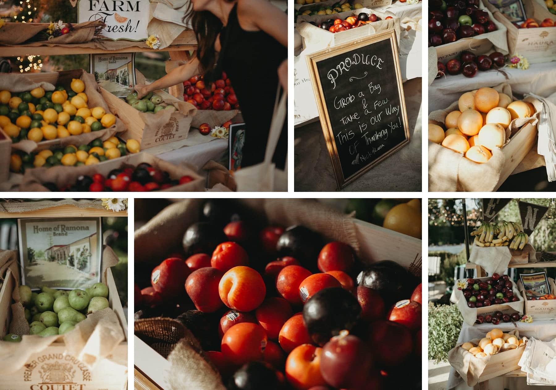 fruit stand wedding favor