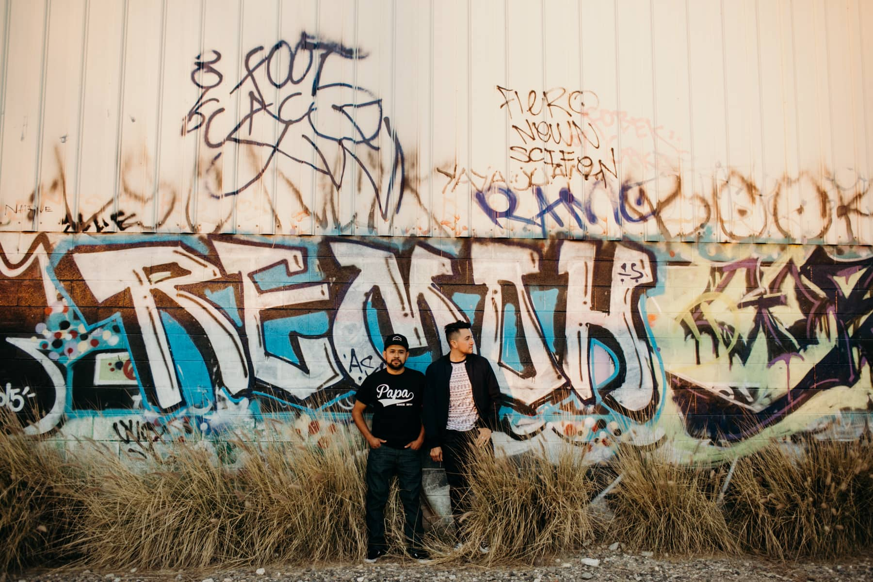 engagement session with graffiti